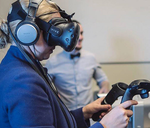 Participant trying VR